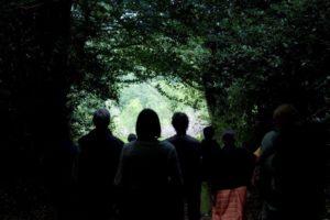 arrivée du grpe lisière chemin ombragée Carré d'herbes (1)